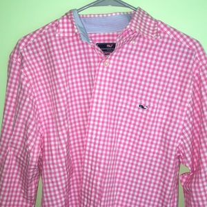 Pink checkered button down shirt
